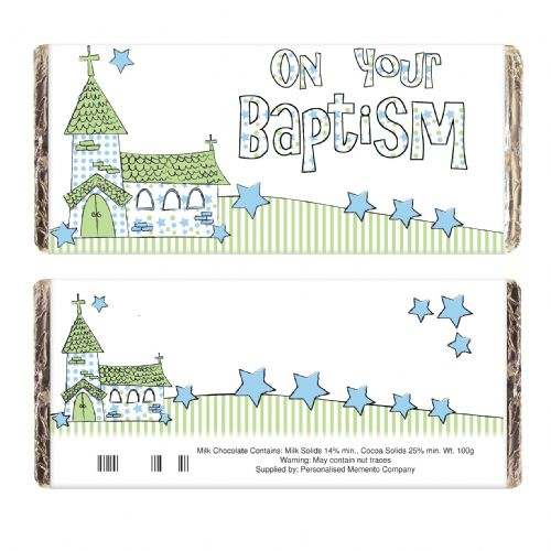 Personalised Blue On Your Baptism Church Chocolate Bar